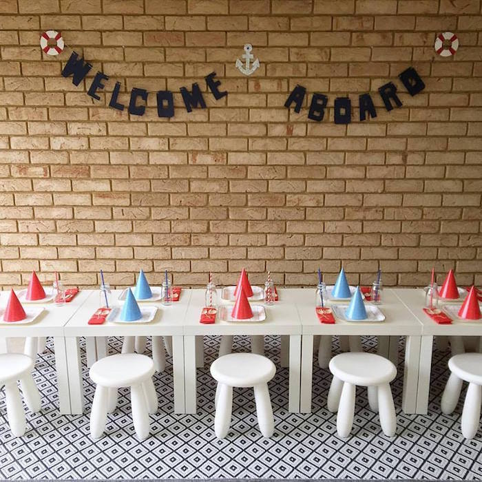 "Guest Table from ""Ahoy it's a Boy"" Nautical Party on Kara's Party Ideas 