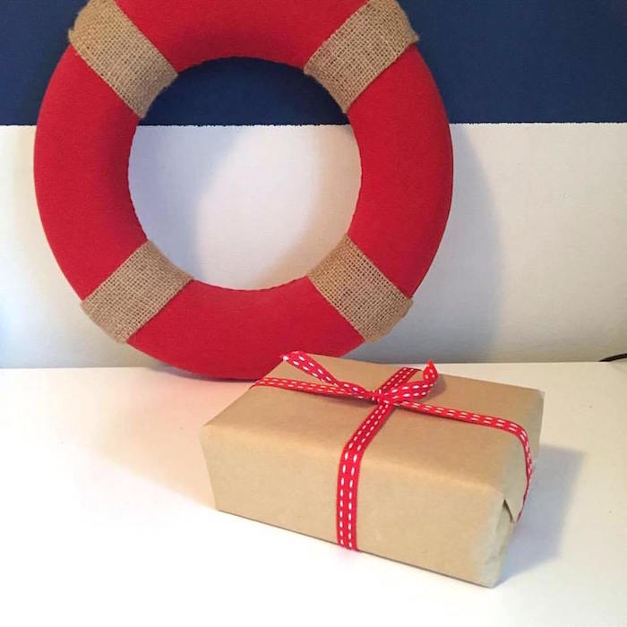 "Favor Box + Buoy from ""Ahoy it's a Boy"" Nautical Party on Kara's Party Ideas 