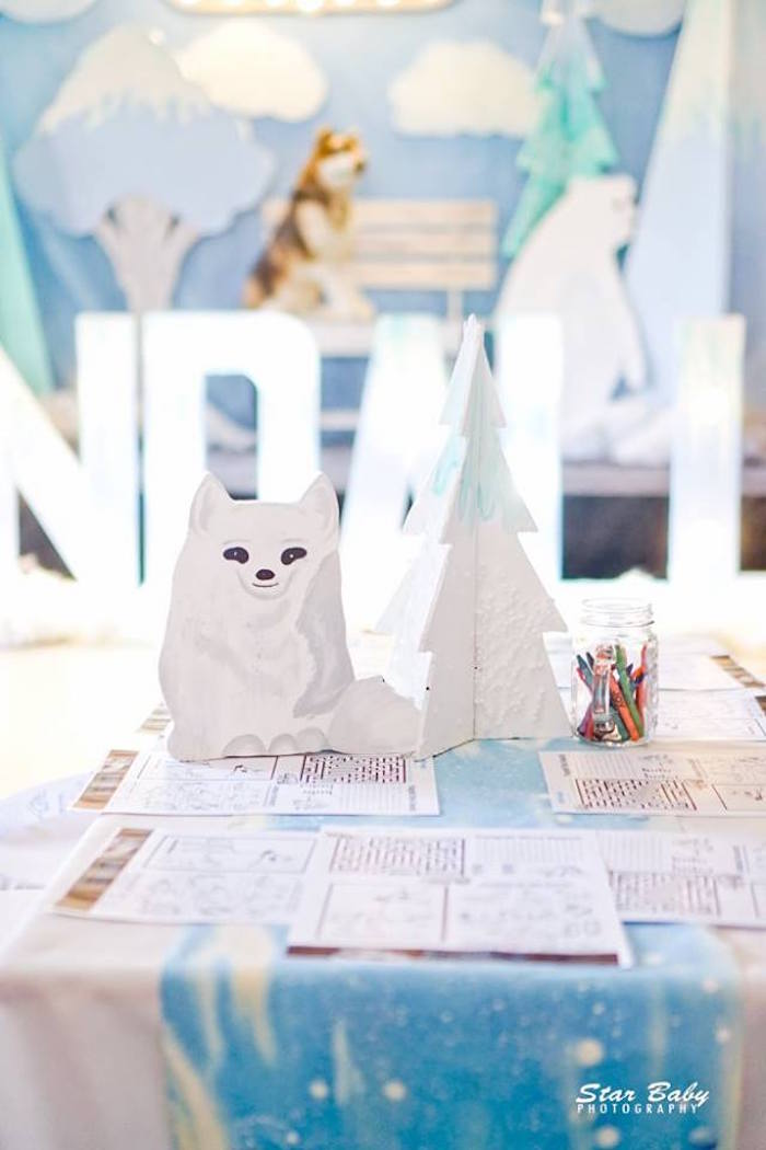 Cool Coloring Table from an Arctic Animal Birthday Party on Kara's Party Ideas | KarasPartyIdeas.com (15)