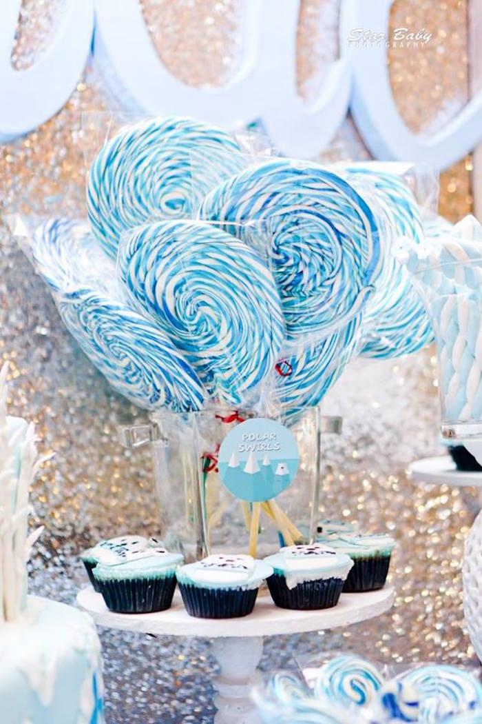 Polar Swirl Lollipops from an Arctic Animal Birthday Party on Kara's Party Ideas | KarasPartyIdeas.com (12)