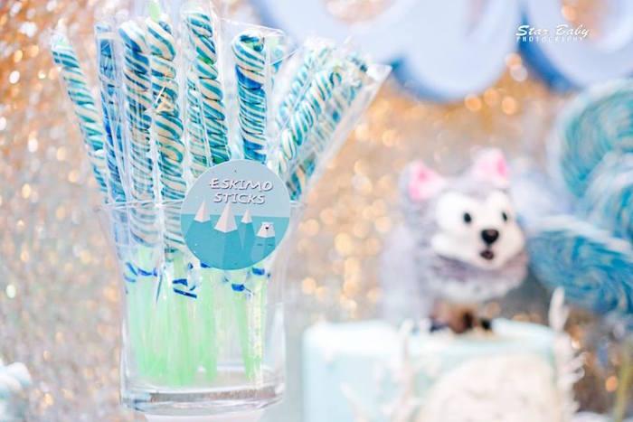 Eskimo Stick Twirl Lollipops from an Arctic Animal Birthday Party on Kara's Party Ideas | KarasPartyIdeas.com (27)