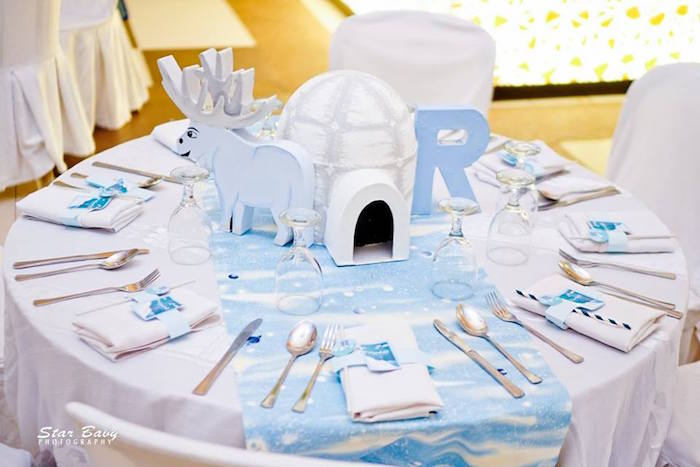 Chilly Arctic-inspired Guest Table from an Arctic Animal Birthday Party on Kara's Party Ideas | KarasPartyIdeas.com (6)