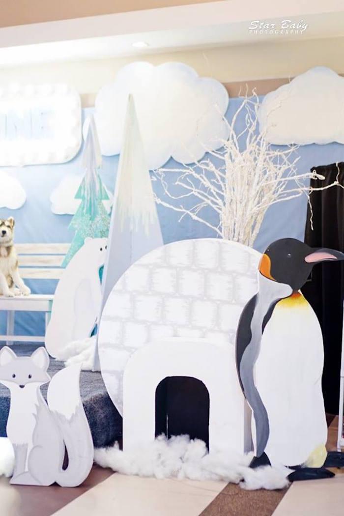 Arctic Animal + Igloo Standees from an Arctic Animal Birthday Party on Kara's Party Ideas | KarasPartyIdeas.com (25)