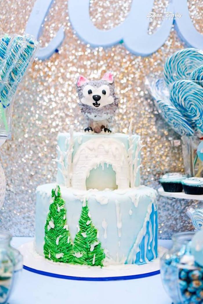 Arctic-inspired Birthday Cake from an Arctic Animal Birthday Party on Kara's Party Ideas | KarasPartyIdeas.com (22)