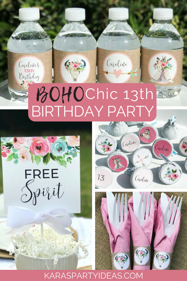 Boho Chic 13th Birthday Party via KarasPartyIdeas - KarasPartyIdeas.com