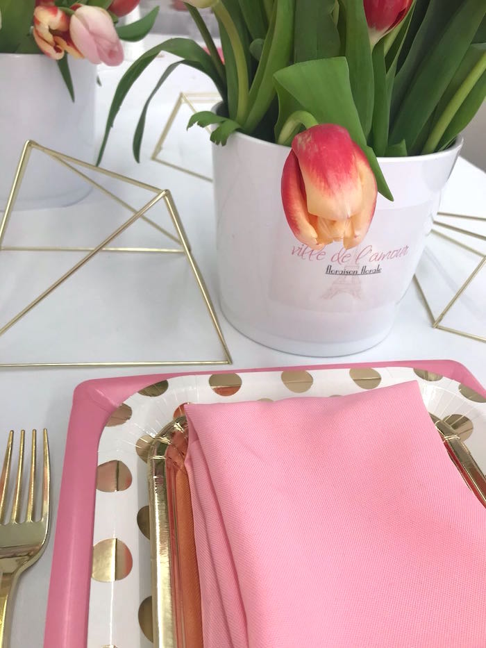 Pink Glam Polkadot Place Setting from a Bonjour Paris Birthday Party on Kara's Party Ideas | KarasPartyIdeas.com (14)