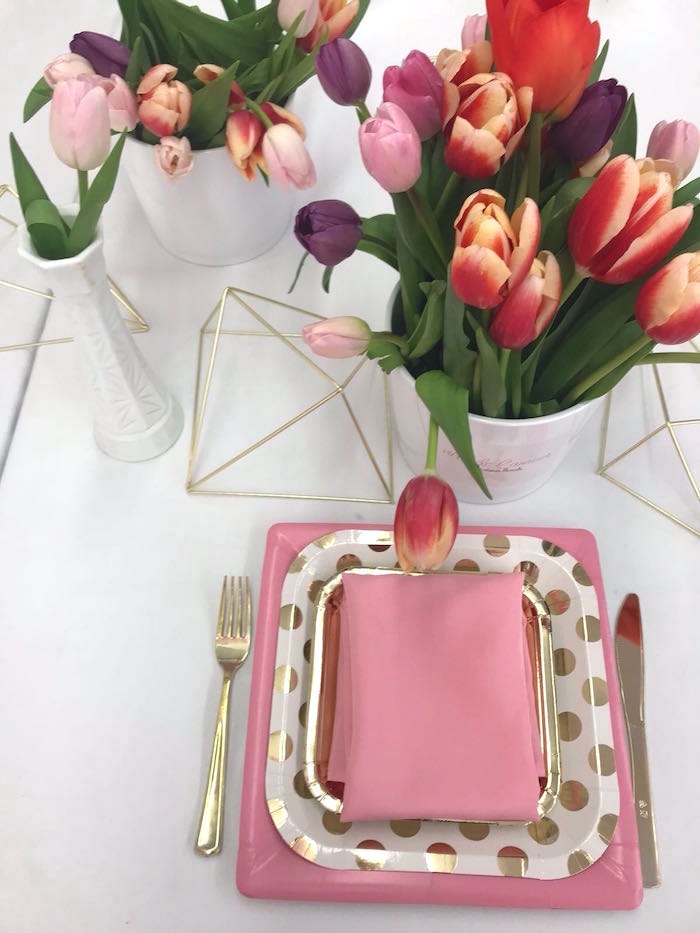 Pink Glam Place Setting from a Bonjour Paris Birthday Party on Kara's Party Ideas | KarasPartyIdeas.com (13)