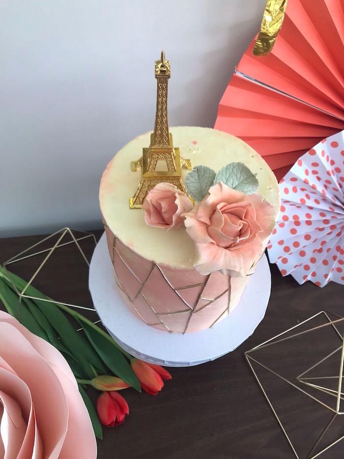 Parisian Cake from a Bonjour Paris Birthday Party on Kara's Party Ideas   KarasPartyIdeas.com (12)