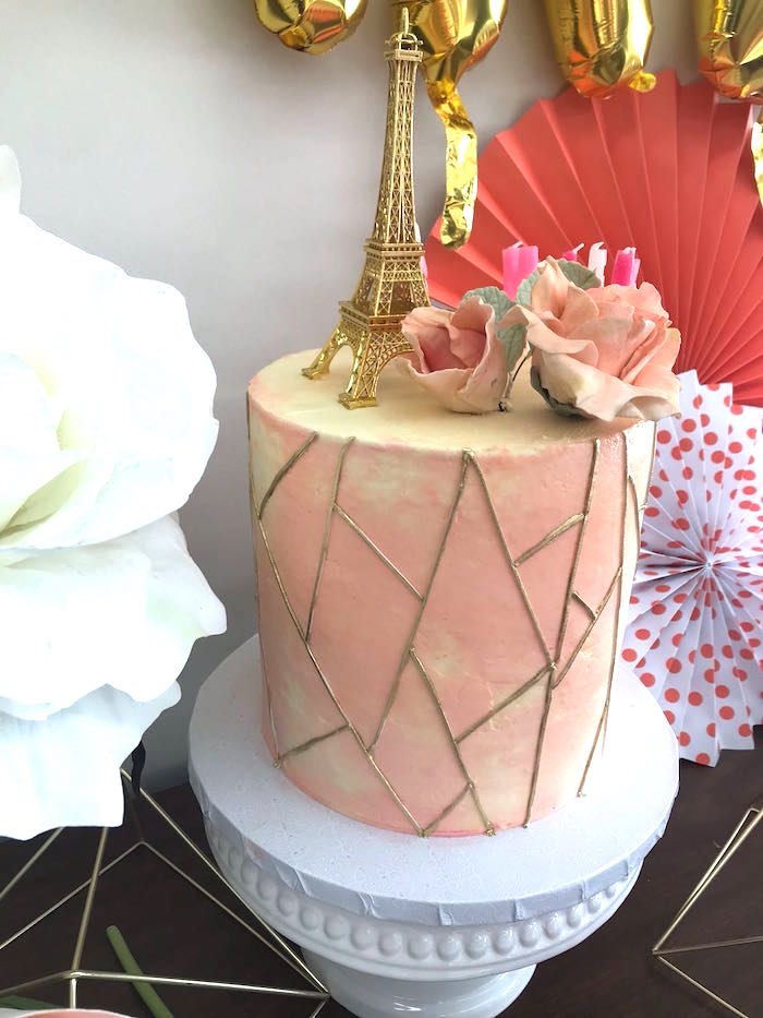 Geometric Watercolor Cake from a Bonjour Paris Birthday Party on Kara's Party Ideas | KarasPartyIdeas.com (20)