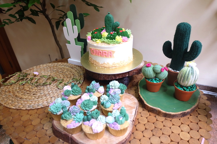 Cactus Themed Dessert Table from a Cactus Garden Birthday Party on Kara's Party Ideas | KarasPartyIdeas.com (6)