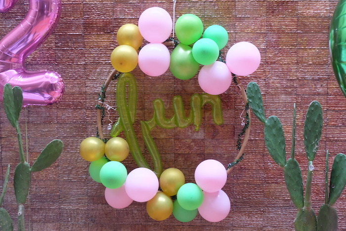 Balloon Wreath from a Cactus Garden Birthday Party on Kara's Party Ideas | KarasPartyIdeas.com (16)