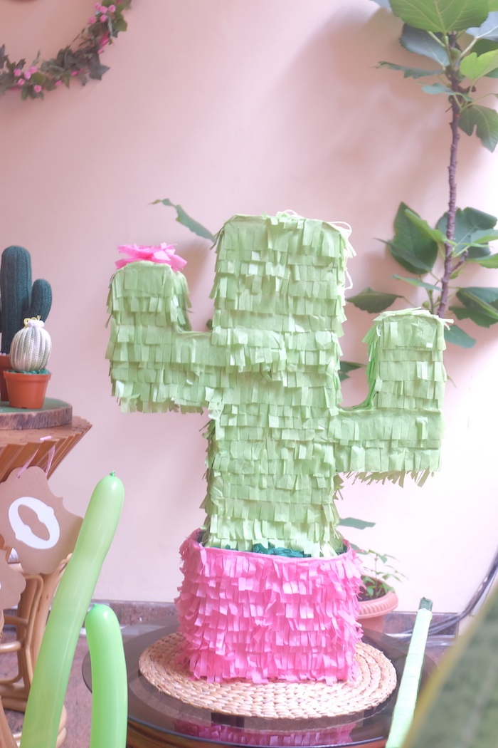 Cactus Pinata from a Cactus Garden Birthday Party on Kara's Party Ideas | KarasPartyIdeas.com (14)