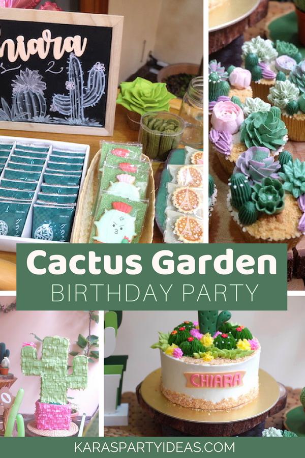Cactus Garden Birthday Party Via KarasPartyIdeas   KarasPartyIdeas.com