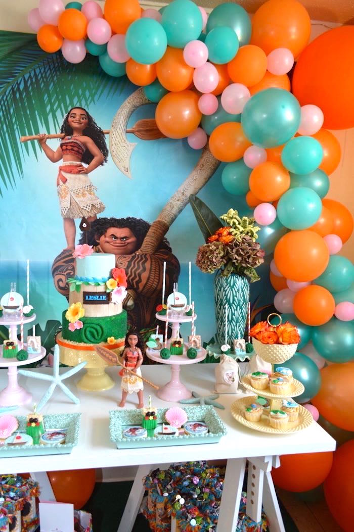 Moana Sweet Table From A Chic Birthday Party On Karas Ideas