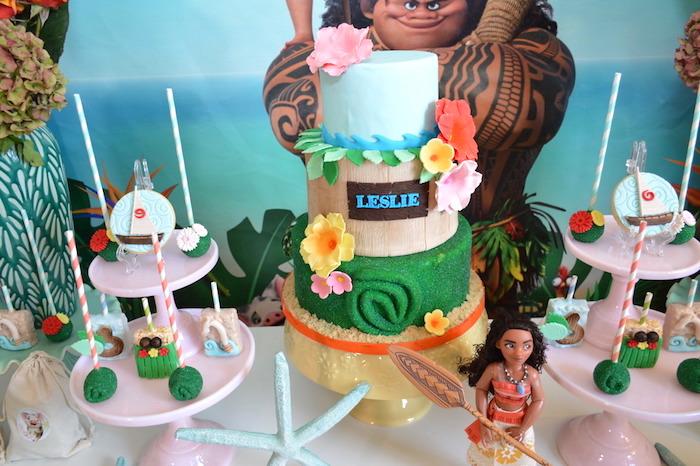 Moana Cake from a Chic Moana Birthday Party on Kara's Party Ideas | KarasPartyIdeas.com (12)