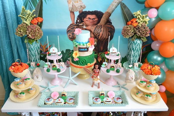 Moana Dessert Table from a Chic Moana Birthday Party on Kara's Party Ideas | KarasPartyIdeas.com (11)