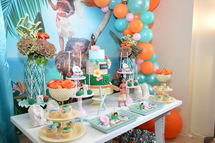 Moana Dessert Table from a Chic Moana Birthday Party on Kara's Party Ideas | KarasPartyIdeas.com (10)