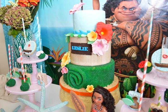 Moana Cake from a Chic Moana Birthday Party on Kara's Party Ideas | KarasPartyIdeas.com (6)