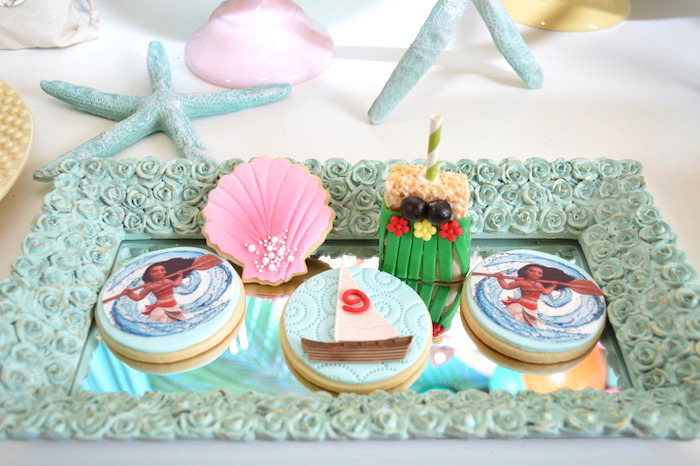 Cookies from a Chic Moana Birthday Party on Kara's Party Ideas | KarasPartyIdeas.com (5)