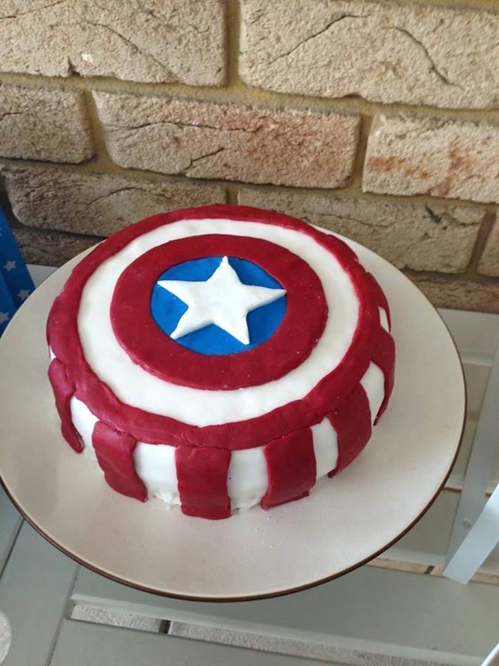 Captain America Shield Cake from a Classic Superhero Birthday Party on Kara's Party Ideas | KarasPartyIdeas.com (14)
