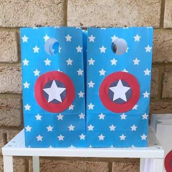 Captain America Sacks from a Classic Superhero Birthday Party on Kara's Party Ideas | KarasPartyIdeas.com (11)