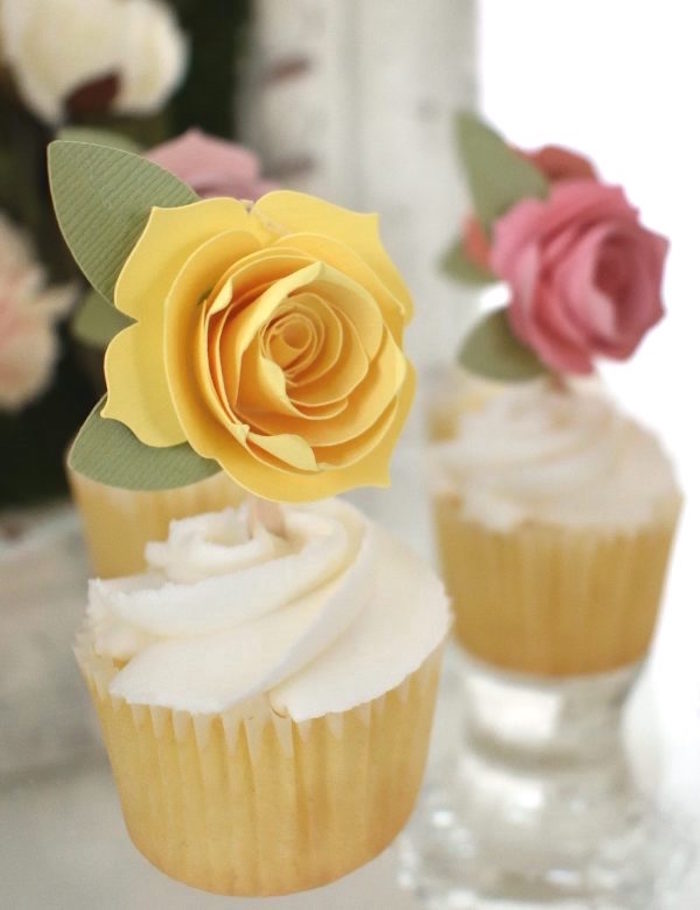 Paper Flower Cupcakes/Toppers from a DIY Springtime Mimosa Bar on Kara's Party Ideas | KarasPartyIdeas.com (7)