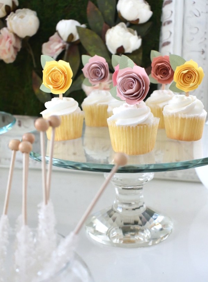 Flower Cupcakes from a DIY Springtime Mimosa Bar on Kara's Party Ideas | KarasPartyIdeas.com (5)