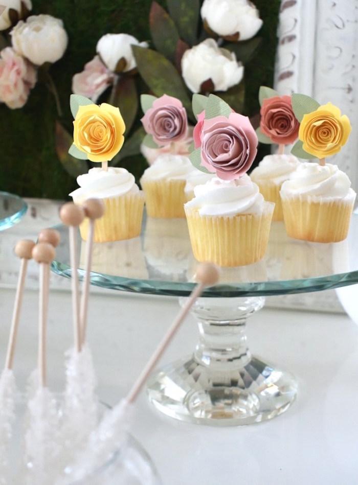 Flower Cupcakes from a DIY Springtime Mimosa Bar on Kara's Party Ideas | KarasPartyIdeas.com (5)