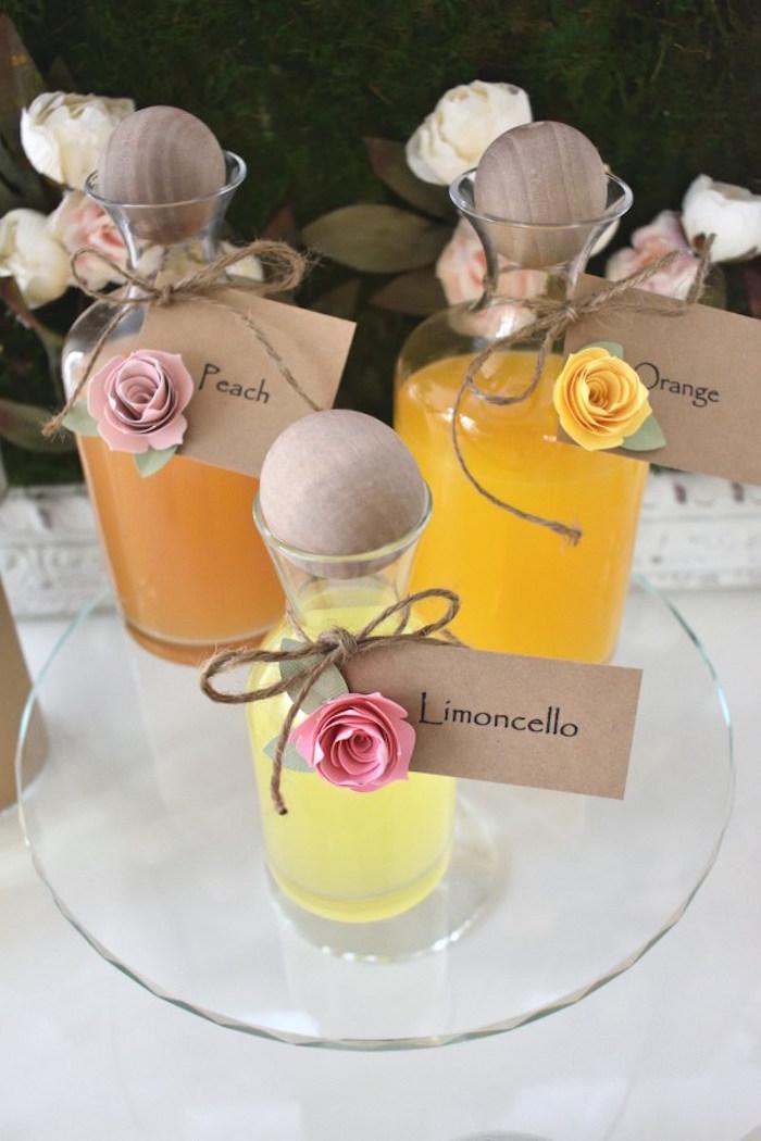 Beverage Bottles + Mix-ins from a DIY Springtime Mimosa Bar on Kara's Party Ideas | KarasPartyIdeas.com (16)