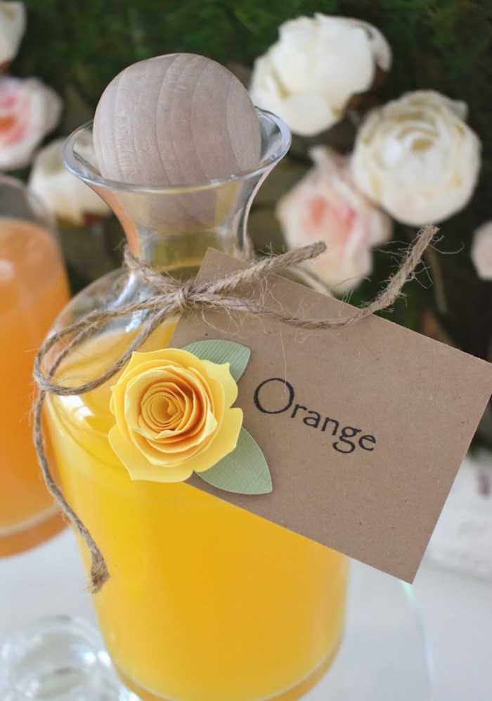 Flower-adorned Drink Label from a DIY Springtime Mimosa Bar on Kara's Party Ideas | KarasPartyIdeas.com (14)
