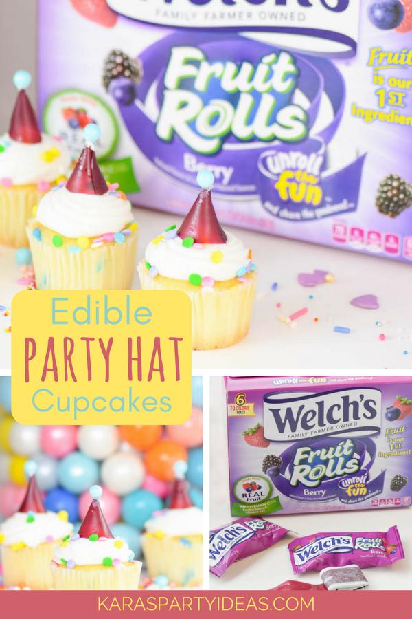 Edible Party Hat Cupcakes via KarasPartyIdeas - KarasPartyIdeas.com