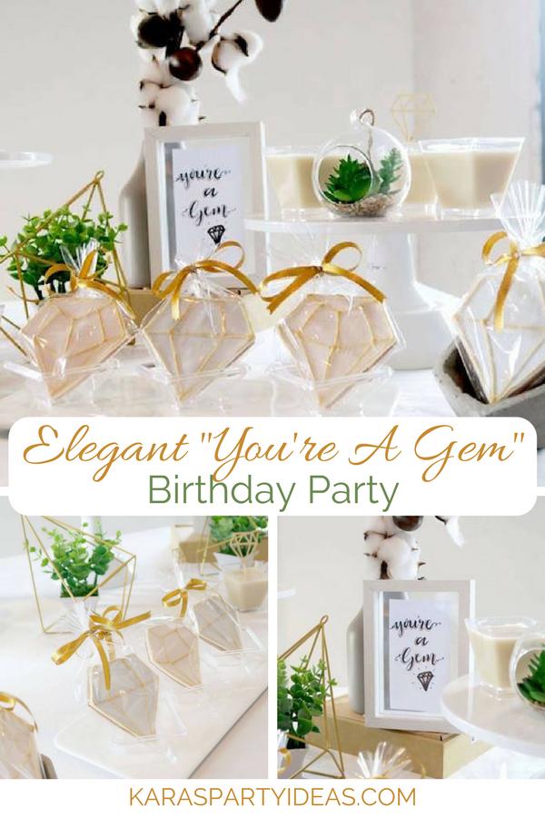 "Elegant ""You're a Gem"" Birthday Party via KarasPartyIdeas - KarasPartyIdeas.com"