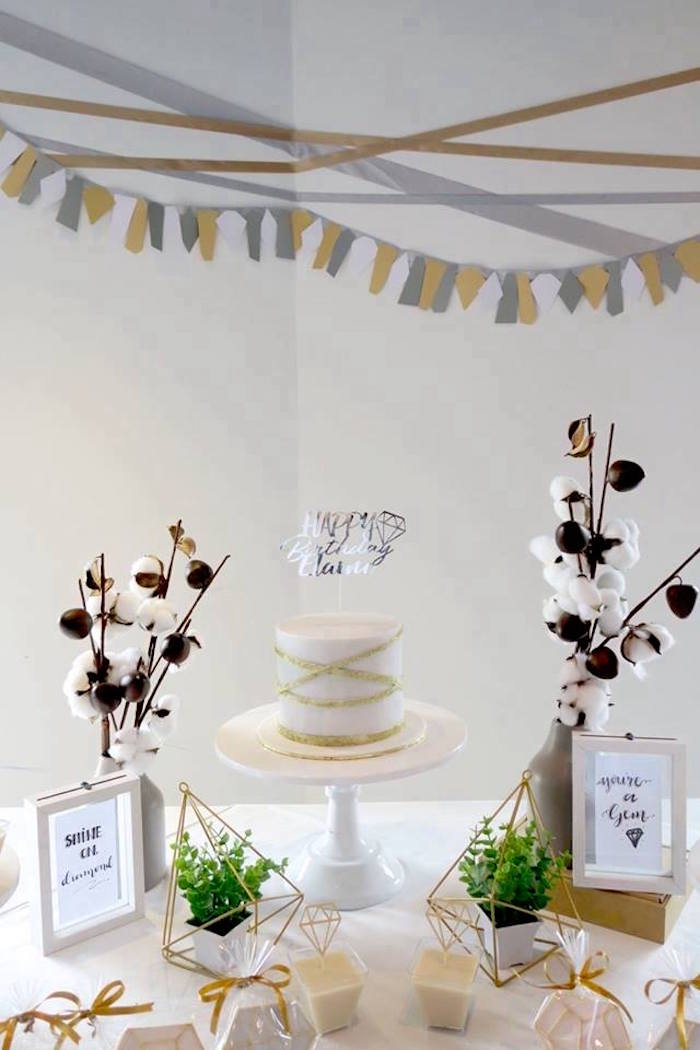 "Cake Table from an Elegant ""You're a Gem"" Birthday Party on Kara's Party Ideas 