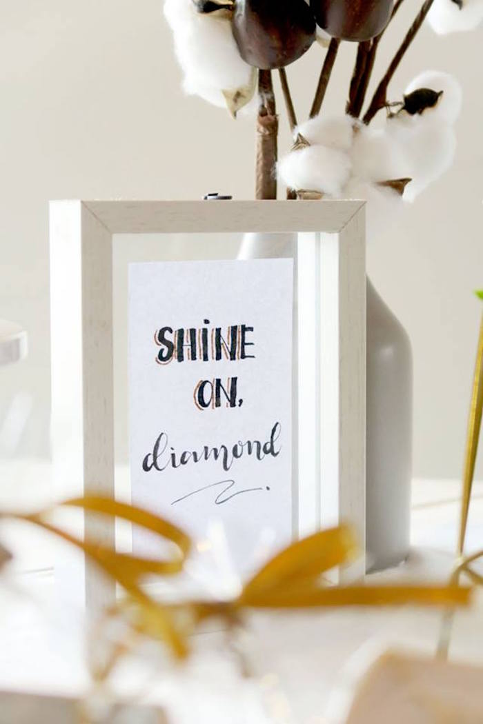 """Shine On Signage from an Elegant """"You're a Gem"""" Birthday Party on Kara's Party Ideas 