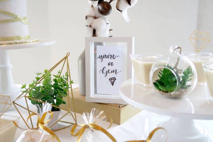 "Signage + Greenery from an Elegant ""You're a Gem"" Birthday Party on Kara's Party Ideas 