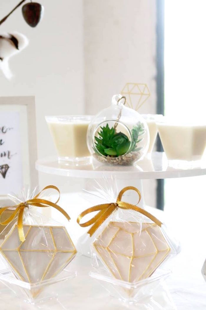 "Dessert Cups & Gem Cookies from an Elegant ""You're a Gem"" Birthday Party on Kara's Party Ideas 