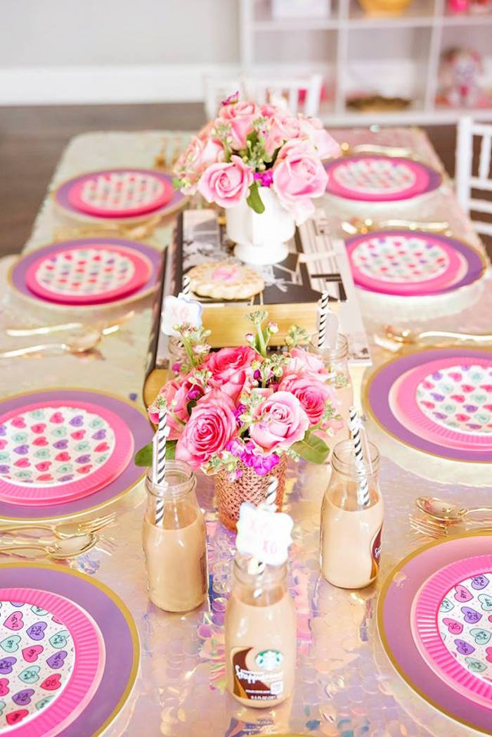 Pink + Gold Guest Table from a Fashionista THREEnager Birthday Party on Kara's Party Ideas | KarasPartyIdeas.com (7)