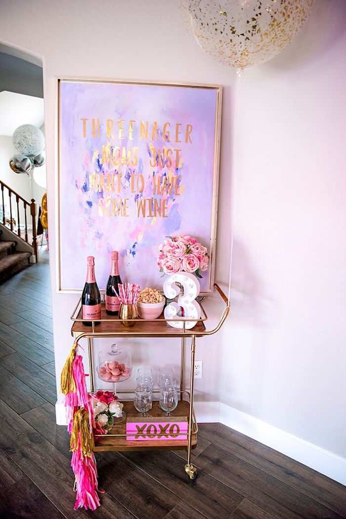Beverage Cart from a Fashionista THREEnager Birthday Party on Kara's Party Ideas | KarasPartyIdeas.com (15)