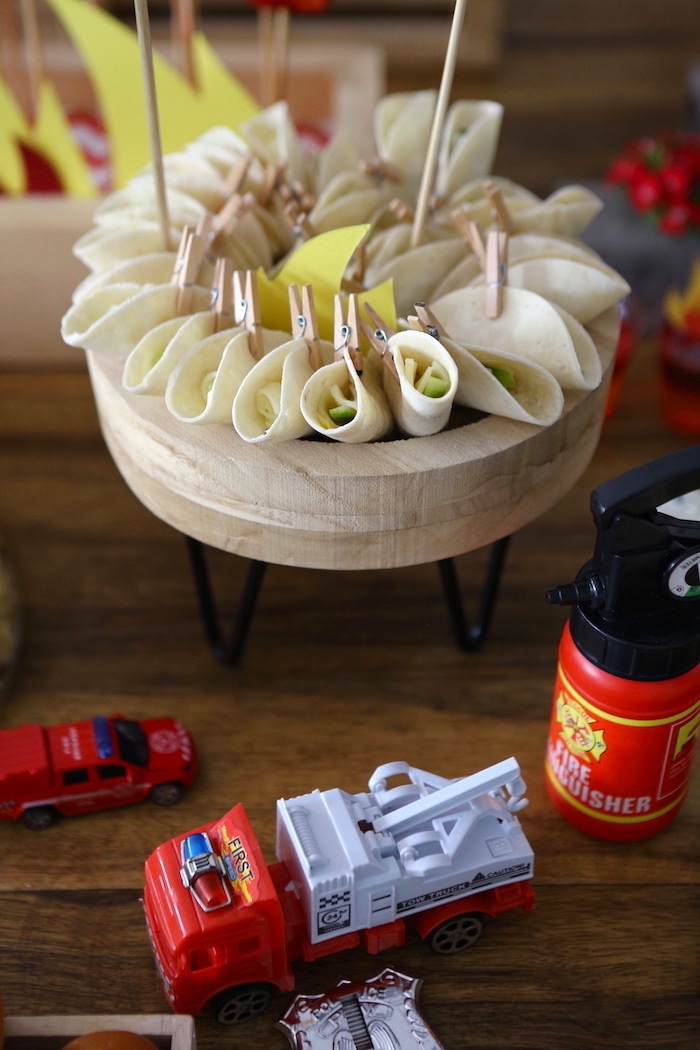 Clothes-pinned Tortilla's from a Fireman Birthday Party on Kara's Party Ideas | KarasPartyIdeas.com (6)
