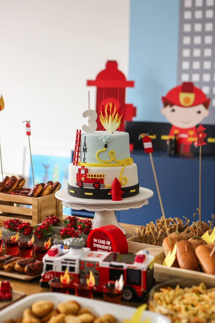 Fireman Themed Cake from a Fireman Birthday Party on Kara's Party Ideas | KarasPartyIdeas.com (4)