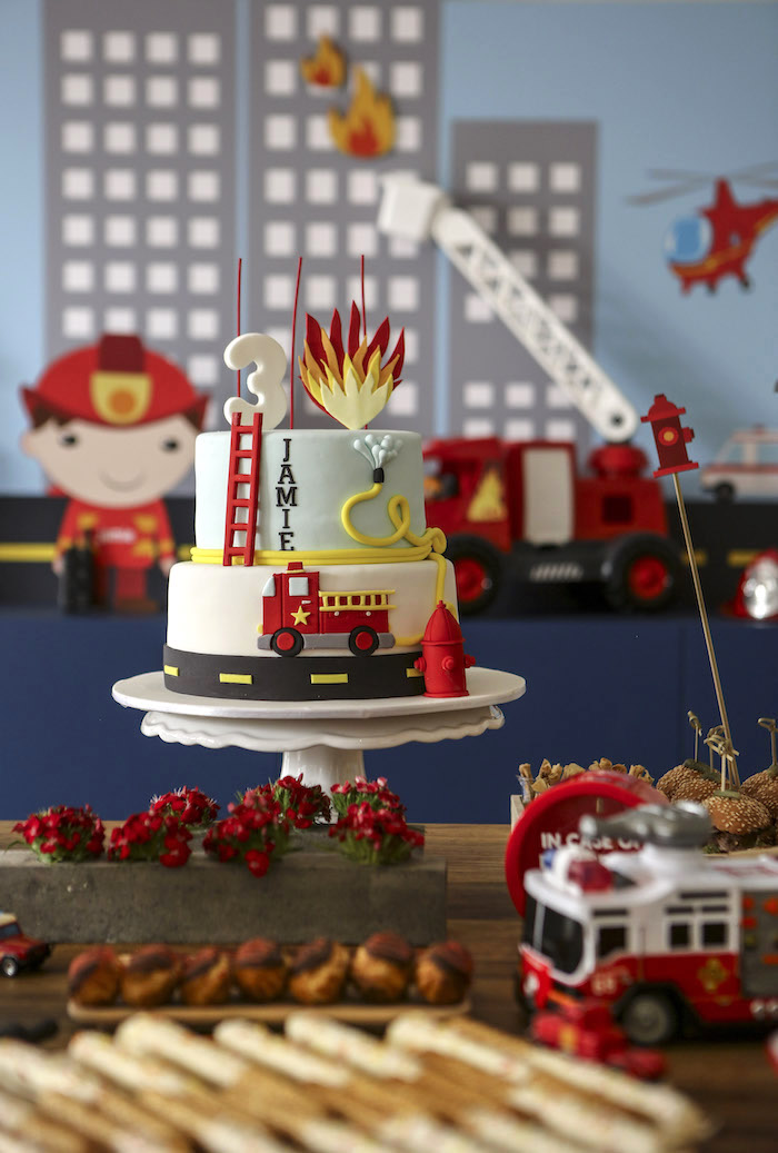 Fireman Themed Cake from a Fireman Birthday Party on Kara's Party Ideas | KarasPartyIdeas.com (15)