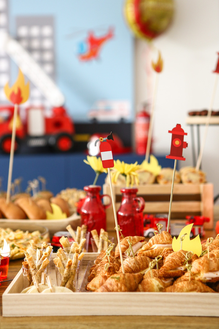 Fireman-inspired Food Table from a Fireman Birthday Party on Kara's Party Ideas | KarasPartyIdeas.com (11)