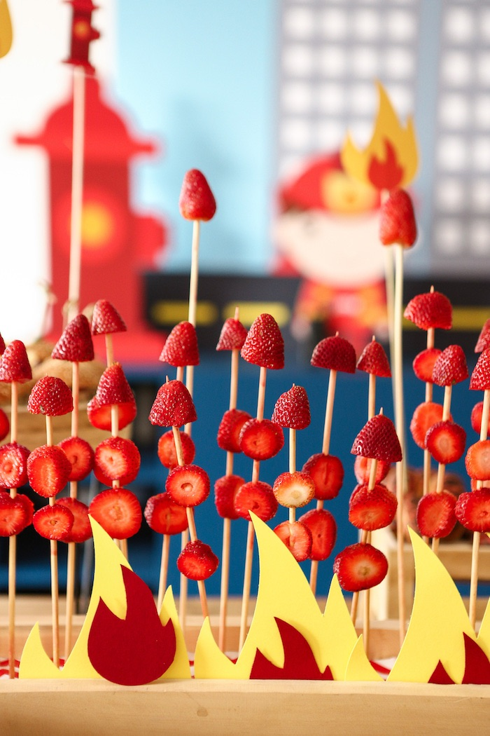 Fire Strawberry Sticks from a Fireman Birthday Party on Kara's Party Ideas | KarasPartyIdeas.com (10)