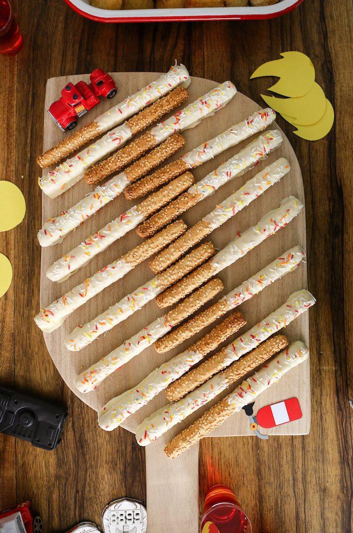Fireman Pretzel Sticks from a Fireman Birthday Party on Kara's Party Ideas   KarasPartyIdeas.com (7)