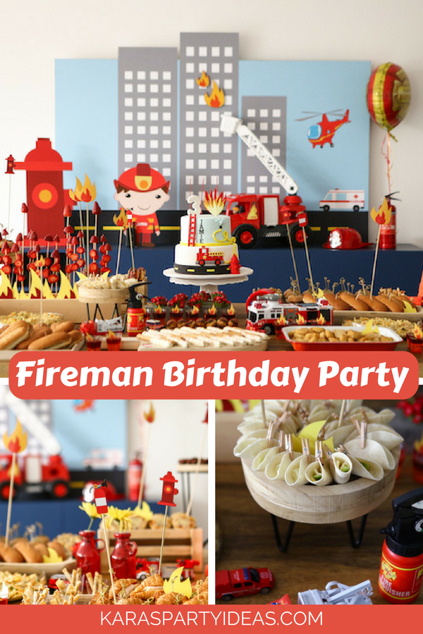 Fireman Birthday Party via KarasPartyIdeas - KarasPartyIdeas.com