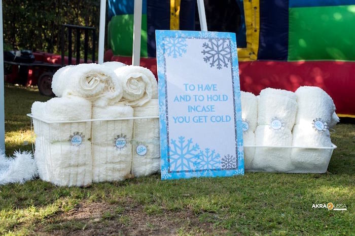 White Blanket Favors from a Frozen Birthday Party on Kara's Party Ideas | KarasPartyIdeas.com (3)