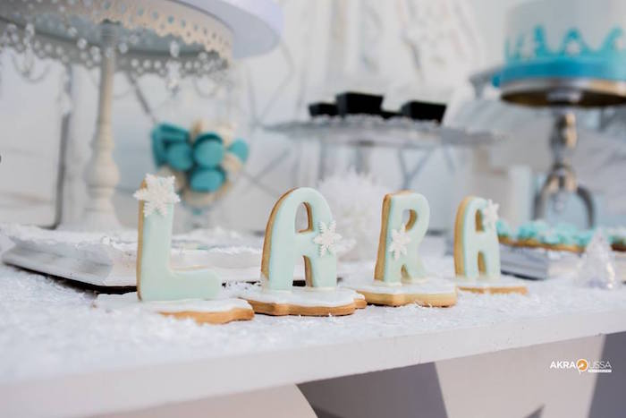 Letter Cookies from a Frozen Birthday Party on Kara's Party Ideas | KarasPartyIdeas.com (2)