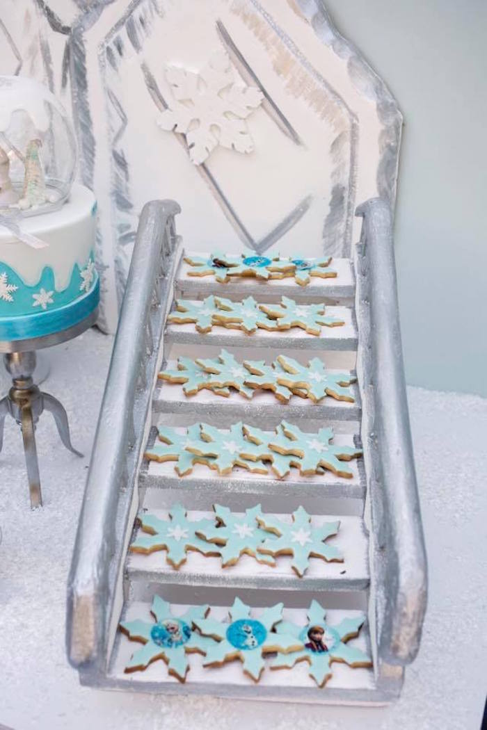 Snowflake Cookie Staircase from a Frozen Birthday Party on Kara's Party Ideas | KarasPartyIdeas.com (12)