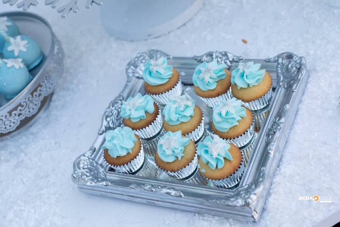 Snowflake Cupcakes from a Frozen Birthday Party on Kara's Party Ideas | KarasPartyIdeas.com (11)
