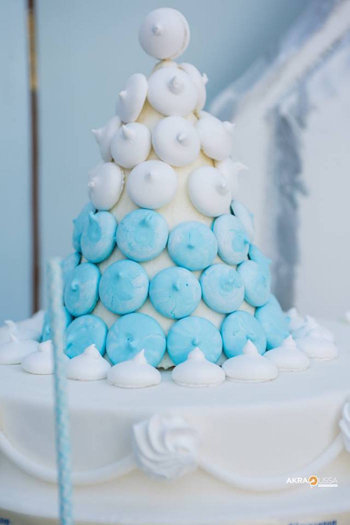 Meringue Kiss Tower from a Frozen Birthday Party on Kara's Party Ideas | KarasPartyIdeas.com (8)